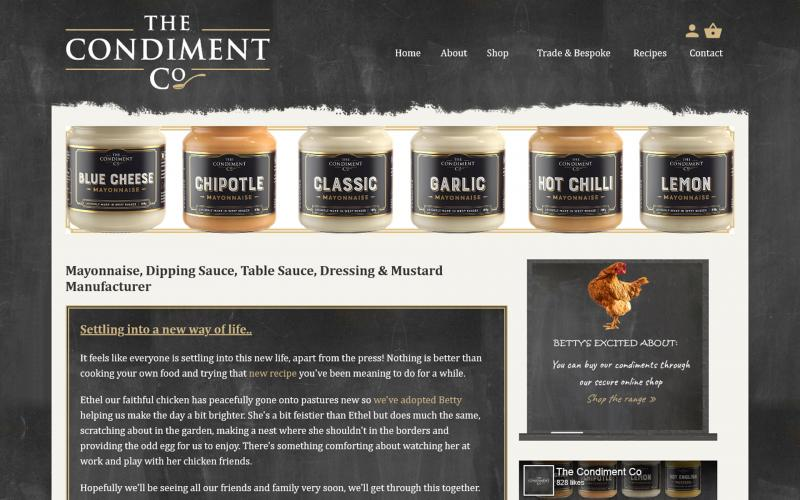 Screenshot of The Condiment Co website